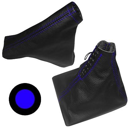 Funda para palanca de cambios y freno de mano 100/% PIEL GENUINA negro con costuras rojo AERZETIX
