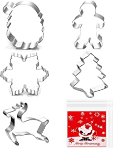 Christmas Cookie Cutters - Maronald 5 pieces Cookie Cutters Shape - Christmas Tree, Gingerbread Man, Snowflake, Reindeer, Santa Face Shapes for Christmas Food Party Decorations