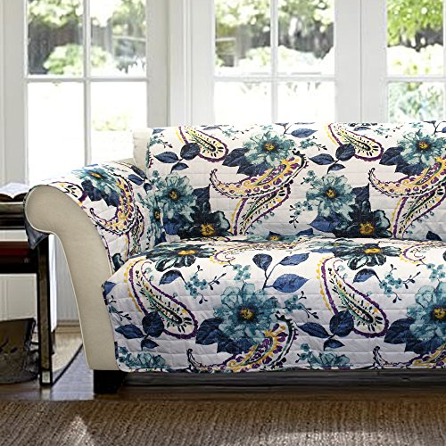 Lush Decor Floral Paisley Slipcover/Furniture Protector for Loveseat, Blue