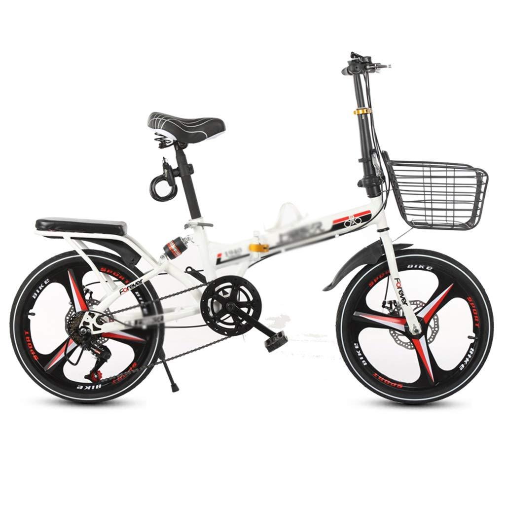 子ども用自転車 携帯用子供用自転車 スチューデントマウンテンバイク 折りたたみ自転車 移動式衝撃吸収自転車、炭素鋼フレーム (Color : 白, Size : 20inches) 20inches 白 B07SCWVW9W