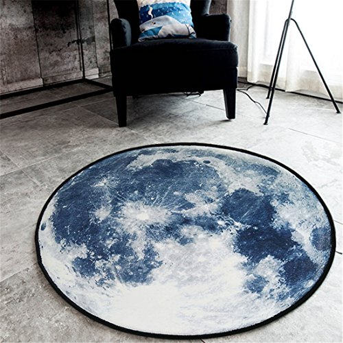 Gwell Living Room 31 5X31 5 Inch Bedroom Bathroom Fluff Carpet Fleece Area Galaxy Round Rug Pads Blue Moon