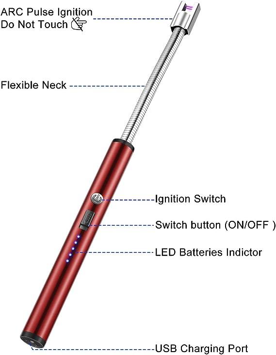 MOSUO Mechero Eléctrico USB Recargable, Encendedor Electrico Encendedor de Cigarrillos, Resistente al Viento sin Llama para Cocina,Cigarrillos, Velas, ...