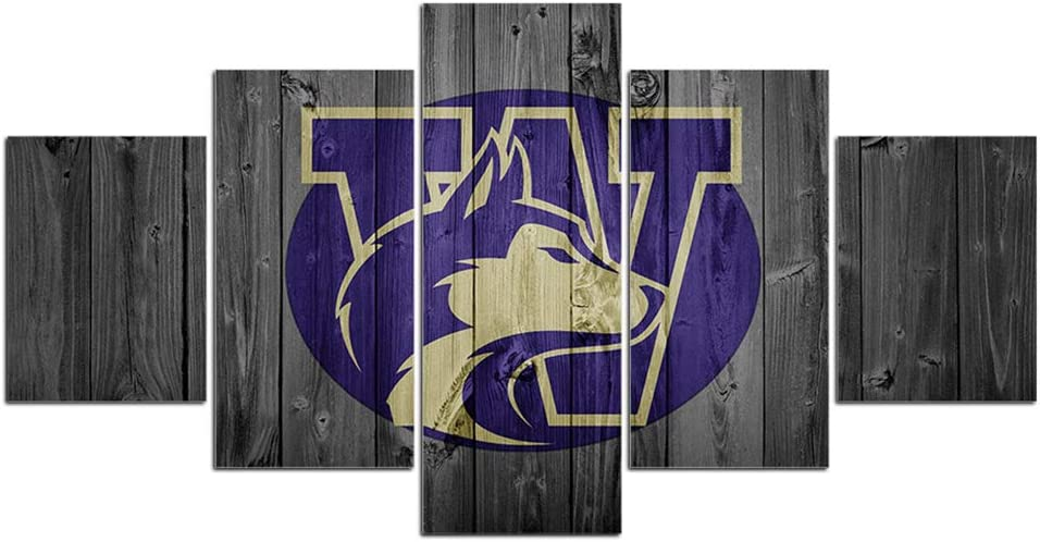 Washington Huskies Football Wall Decor Art Paintings 5 Piece Canvas Picture Artwork Living Room Prints Poster Decoration Wooden Framed Ready to Hang(60''Wx32''H)