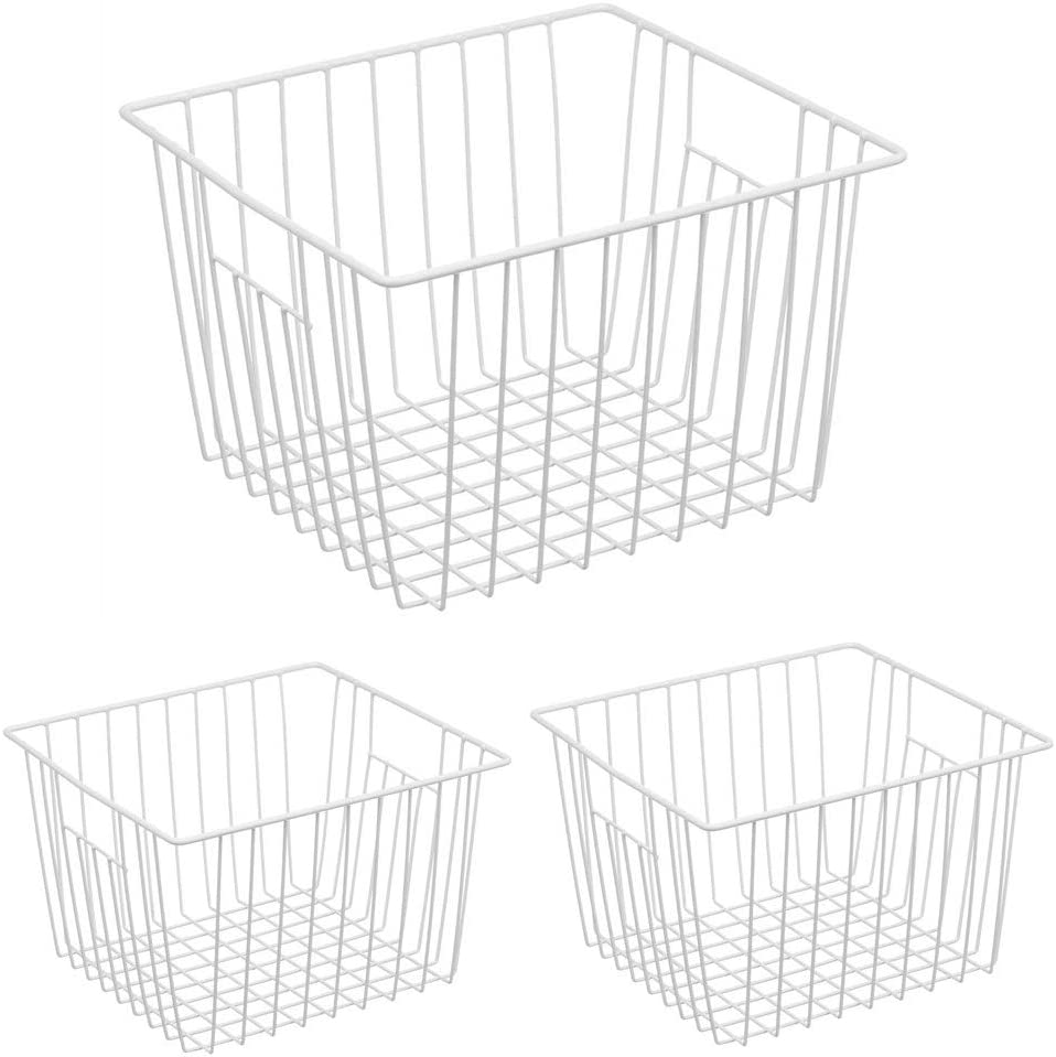 Freezer Organizer Basket, Refrigerator Deep Metal Wire Food Storage Divider, Household Container Bins with Handles for Kitchen Cabinet, Pantry, Closet, Car, Bathroom, Office - Pearl White (3)