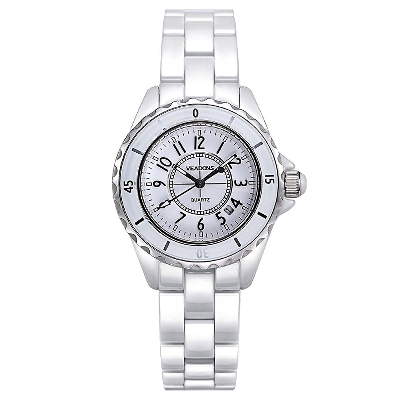 veadons Diamant Keramik wasserdicht Designer Quartz Uhren fÜr Frauen Weiß