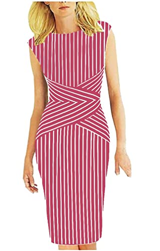 BAIMIL Sleeveless Vertical Stripes Summer Wear to Work Casual Party Pencil Dress