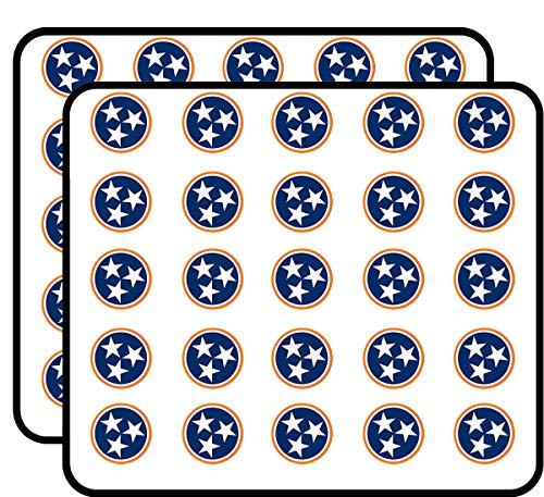 Round Orange Tennessee 3 Stars Round (Circle Volunteer tn Logo) Sticker for Scrapbooking, Calendars, Arts, Kids DIY Crafts, Album, Bullet ()