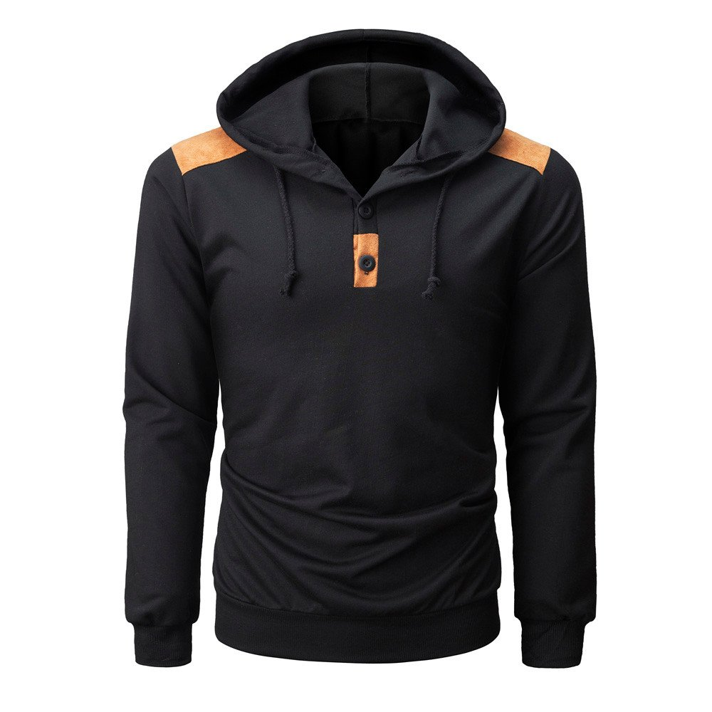 Long Sleeve Couple Button Collar Sweatshirt Tops Blouse Yaseking Mens Winter Hooded