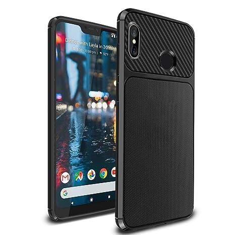 Ferilinso Funda para Xiaomi Mi A2 Lite,Silicona Flexible Híbrido Defensor Shockproof Funda Protectora diseño de Fibra de Carbono de la Cubierta ...