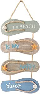 Nautical Beach Flip Flop Wall Ornament Decoration Wooden Slippers Hanging Decoration, Ocean Home Hanging Ornament for Wall Decor Nautical Themed Home Décor, 21 x 8.7 x 0.4 Inches(Retro Blue Brown)