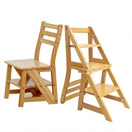 Charmant YIZI HAIPENG Wooden Ladder Chair Foldable Shelf 3 Step Multifunctional  Staircase Stool Step Seats Dual