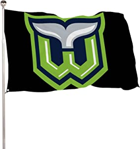 YAOSHUIGE Hart-Ford Whalers Hockey Logo Flag Vivid Color and UV Fade Resistant with Brass Grommets 3x5 Flag