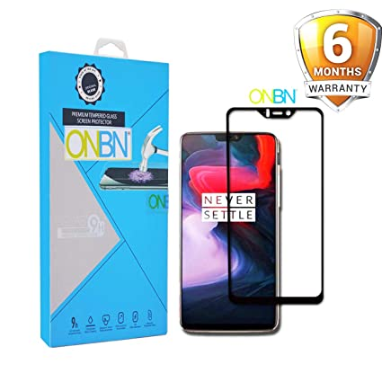 best service d45fe a843e ONBN 6D Full Edge-to-Edge 9H Hardness Anti-Scratch Tempered Glass for  Oneplus 6 (Black)