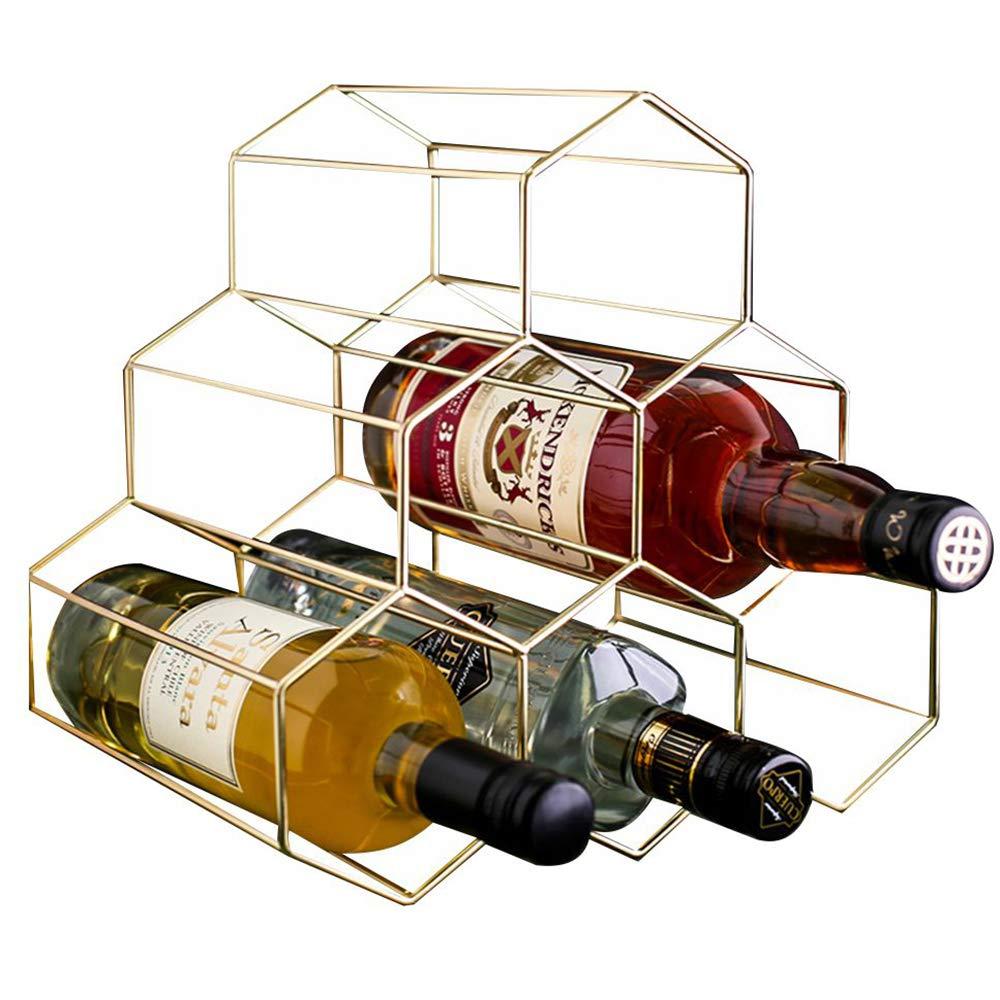 PENGKE Wine Rack Freestanding Wine Rack,6 Bottles Countertop Free-Stand Wine Storage Holder Protector for Red White Wine