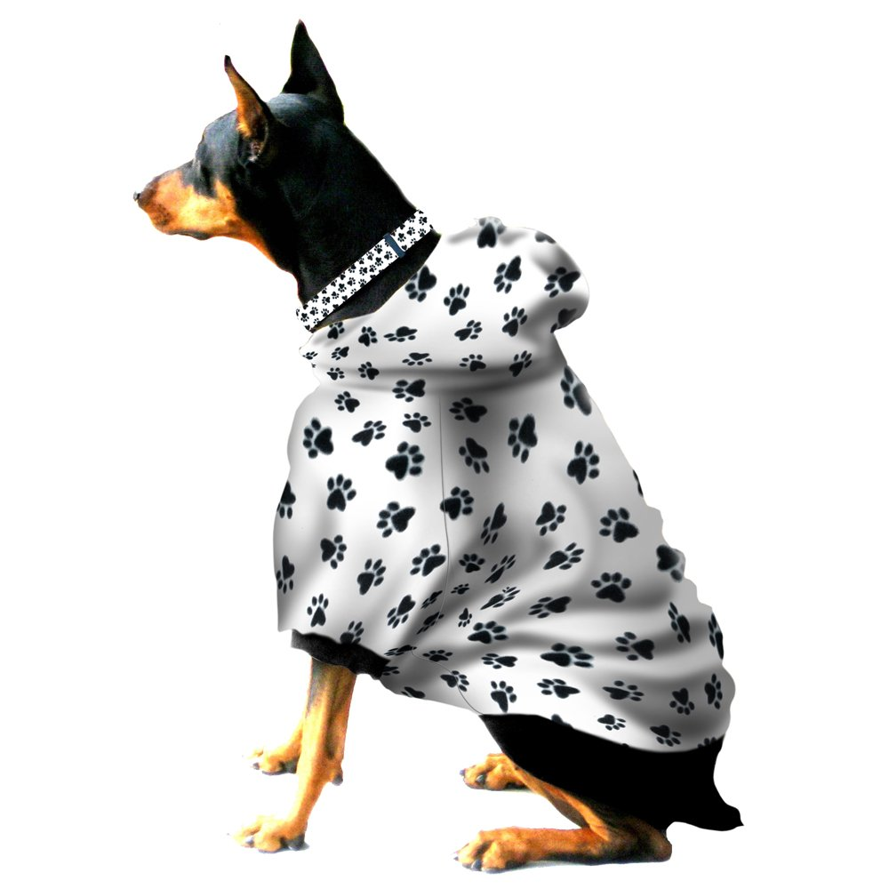 Boxer - Doberman Dog Sweatshirt for Large Dog (60 to 90 Pounds) Black Paw Prints