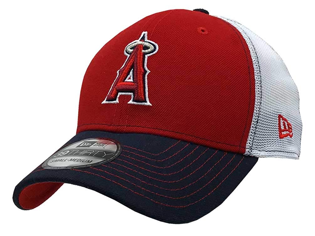 New Era 2019 39Thirty MLB Anaheim Angels Practice Piece Hat Cap Flex Fit (L/XL) Red/Navy