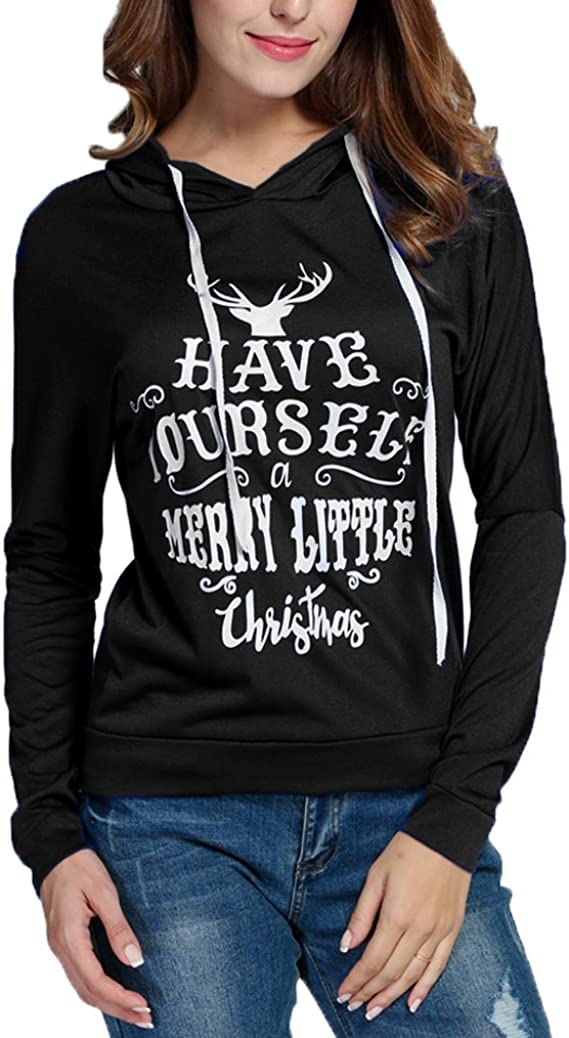 Women Santa Printed Long Sleeve Drawstring Hooded Sweatshirt Hoodies Tops Blouse Shirt