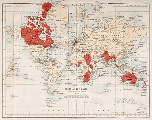 Map Of The World Showing In Red The Extent Of The British Empire In 1901 Poster Print (16 x 12) (British Empire Map)