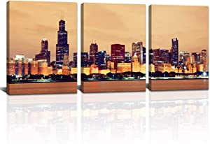 """3 Piece Yellow Chicago Cityscape Canvas Wall Art Night City Picture Prints Modern Downtown Night Scene Painting Gold Artwork for Office Bathroom Bedroom Home Wall Decor Ready to Hang 12""""x16""""x3PCS"""