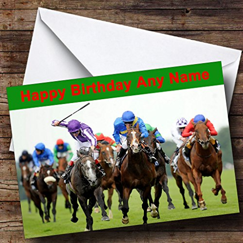 Horse Racing Personalized Birthday Greetings Card ()
