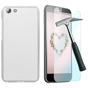 OVIphone Funda Gel TPU Para ZTE BLADE A512 + Cristal Templado (Color Translucido / Transparente)