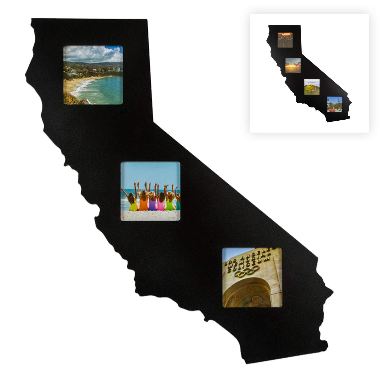 State Your Frame California Home Goods Gifts State Shaped Recycled Matte Black Wood Picture Collage Photo Frame - The Perfect Golden State Modern Wall Decor Gift for The Home - 3 Piece 3x3