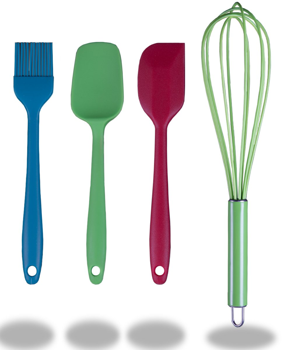 Silicone Kitchen Utensils 4 Piece Set Premium Food Grade Nonstick Cooking Tools Whisk, Spoon, Spatula Brush - Perfect for Kids Baking Starter Set - by Kitchen Winners M00200