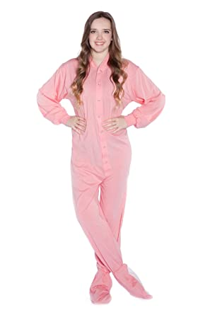 887b31e967a2 Big Feet PJs Pink Jersey Knit Adult Footie Footed Pajamas with Drop ...
