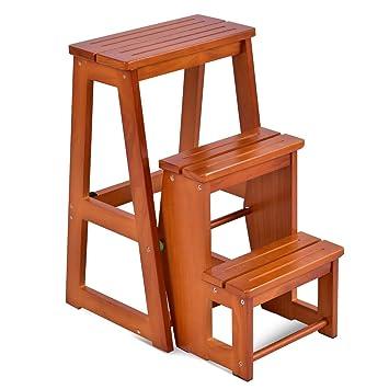 COSTWY Escalera Silla de Madera Plegable Multifunción Escalera Banqueta Taburete Estantería Escalón para Baño Hogar Decoración