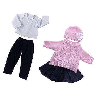 MagiDeal 2 Juego de Ropa Camiseta y Pantalones + Suéter de Manga Larga Falda Sombrero para 18 Pulgadas Americanas Chicas Muñecas: Juguetes y juegos