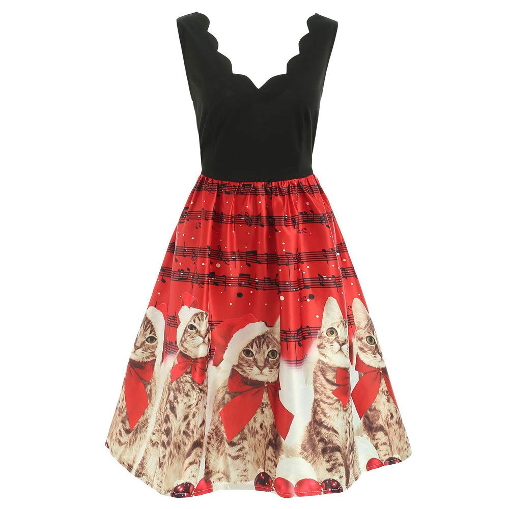 LILICAT Women's Christmas Retro Cocktail Dress Vintage V-Neck Sleeveless Cats Musical Notes Pattern Pleated Skirt A-line Dress