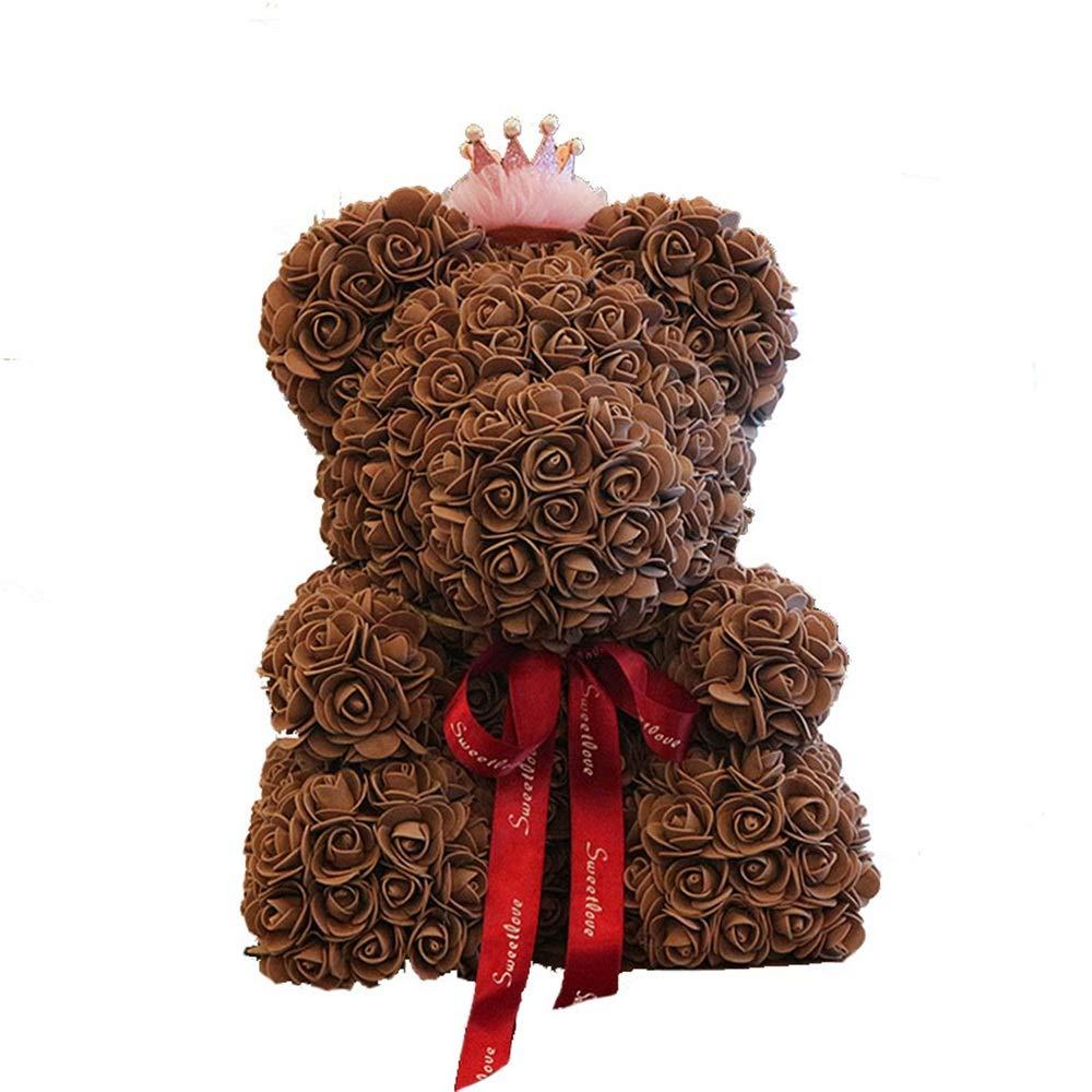 人工の香水ローズ バレンタインデーのギフトDIYローズベアクリエイティブフラワーバースデーウェディングパーティー人工かわいいクマ人形ロマンチックなギフト。 装飾的な結婚式の結婚記念日のバレンタインデーの誕生日プレゼント B07NZ3N2N1