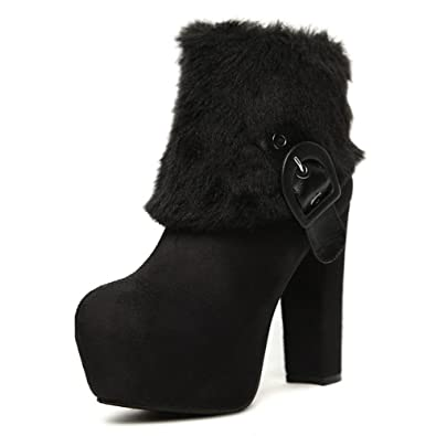 Ladies Bandage Chunky Heels Fur Collar Frosted Boots