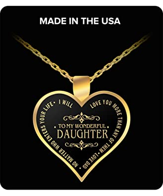 Amazon Com To My Daughter Necklace Pendant From Dad I Love My
