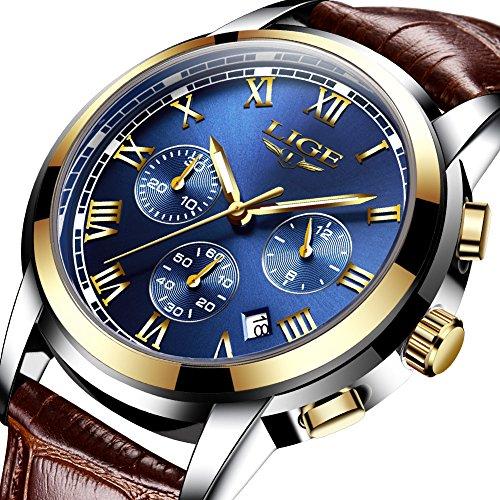 LIGE Mens Watches Waterproof Chronograph Stainless Steel Analog Quartz Watch Men Luxury Brand Fashion Dress...