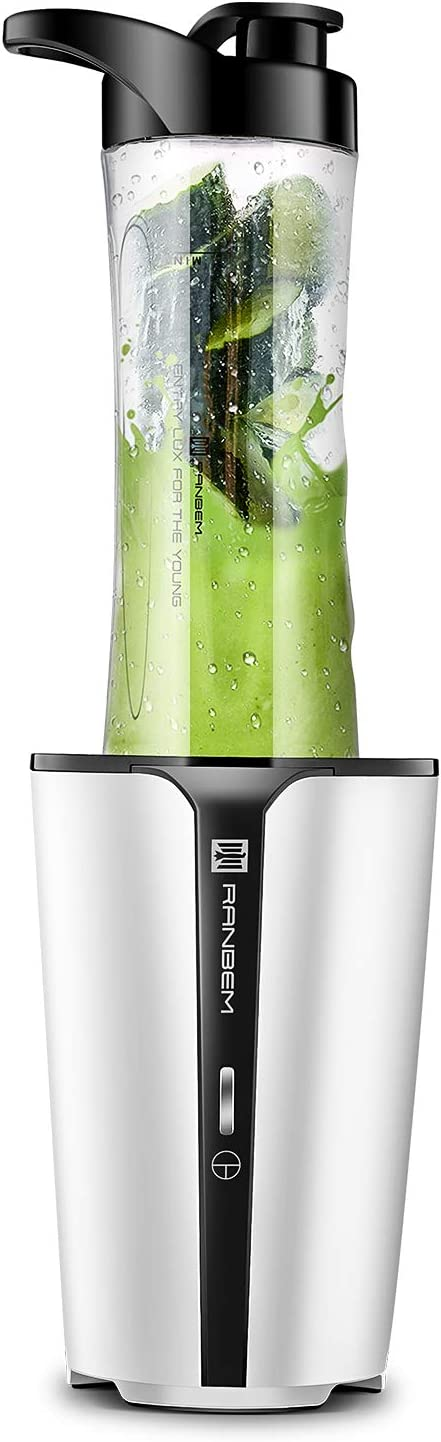 Personal Smoothie Blender, Bullet Blender - Mini Small Personal Blender for Shakes and Smoothies, Single Serve Blender for Kitchen with 20-Ounce Travel Cup and Lid for Fruit Vegetables, Protein Shake, Juicer/Mixer, White 300W Base