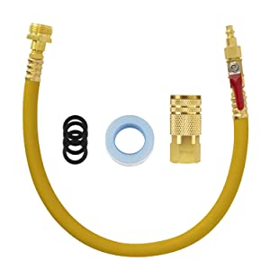"""SUNGATOR Sprinkler Systems & RV Winterize Blow Out Plug Kit with 20"""" Hose and Valve, Water Blowout Adapter with 6-Ball Air Quick Connector for Camper, Irrigation Systems, Trailers, Boat, Motorhome"""