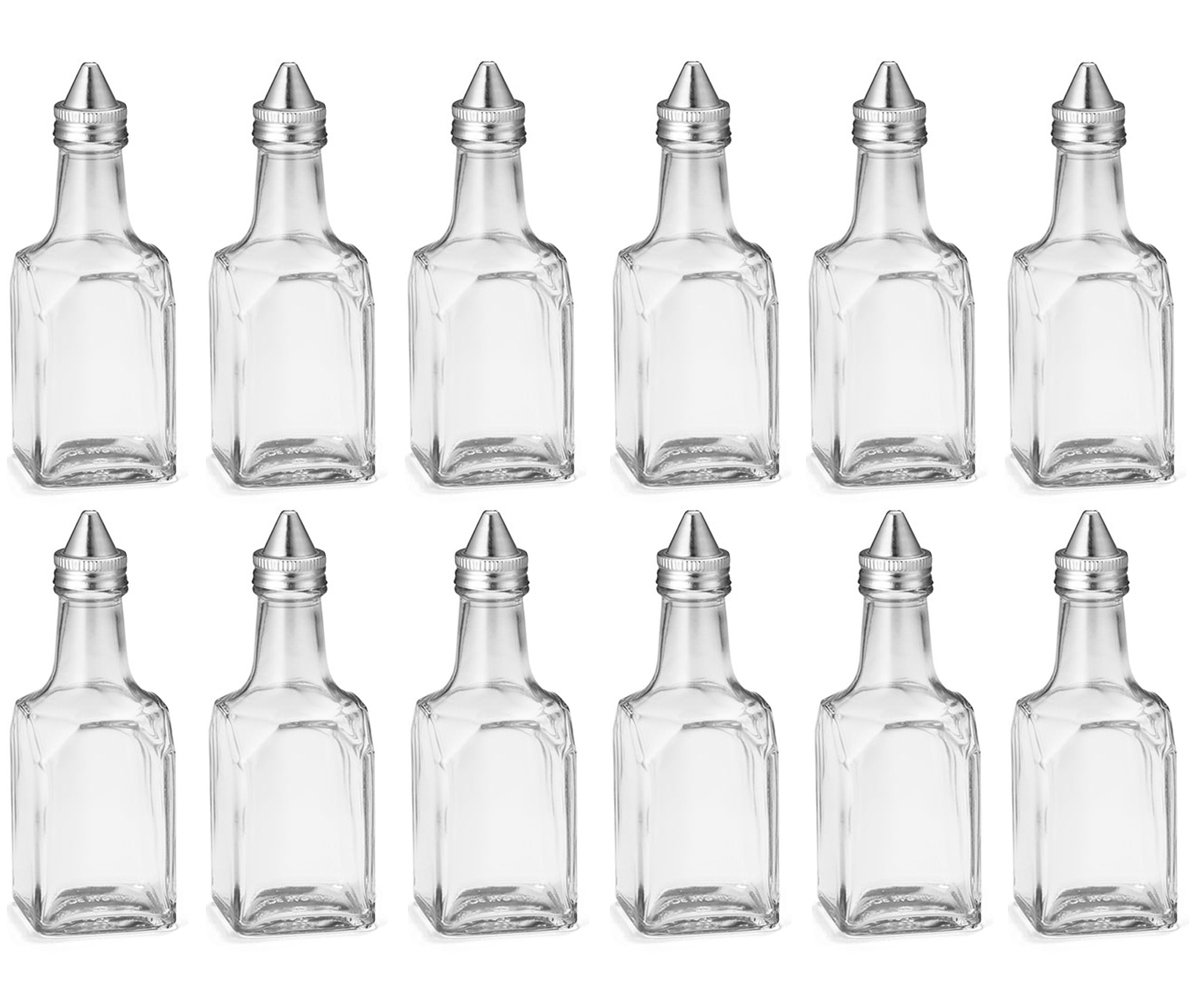 (12 Pack) 6 oz Salad Olive Oil and Vinegar Dispenser, Square Glass Cruet with Stainless Steel Pourer