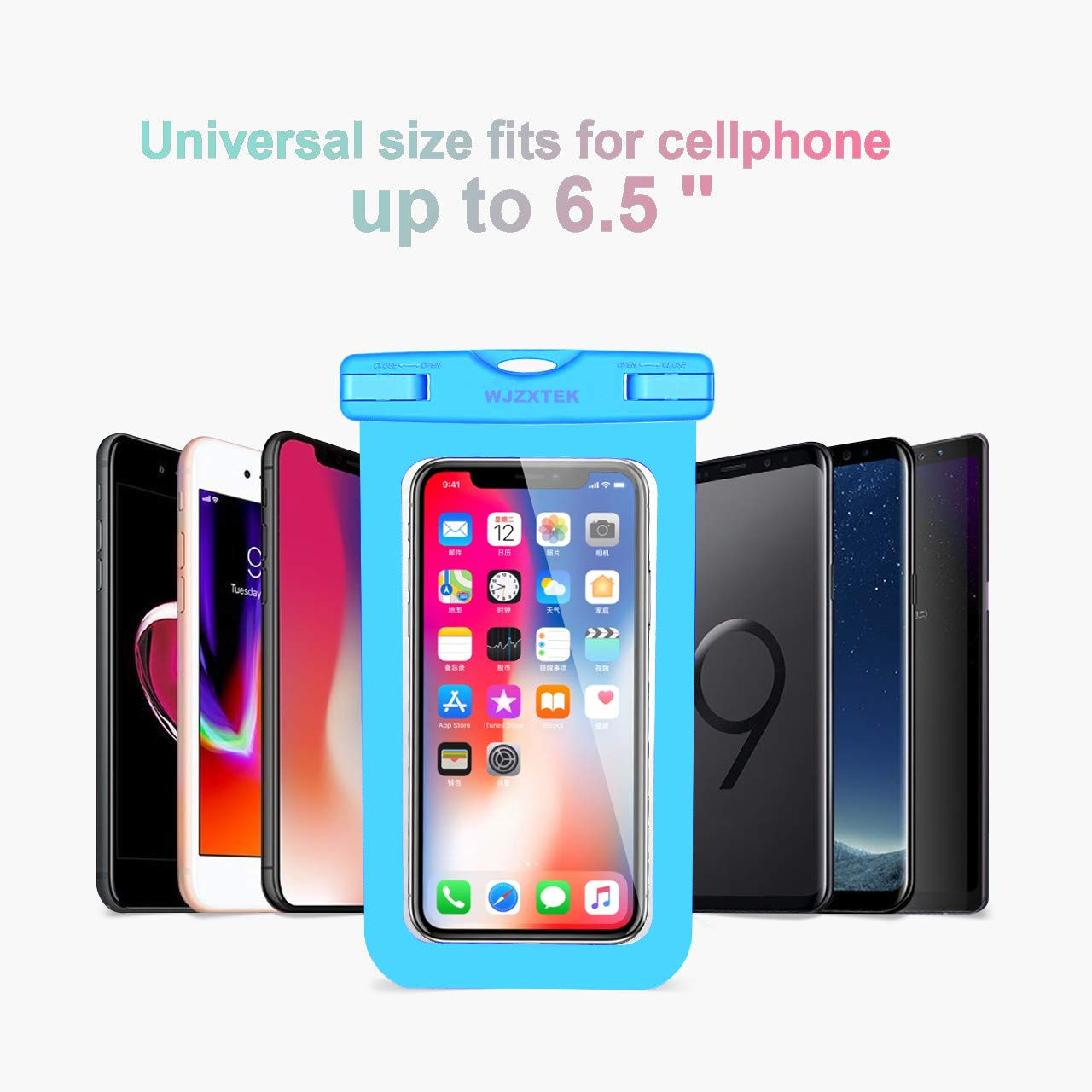 WJZXTEK Universal Waterproof Case,IPX8 Waterproof Phone Pouch Underwater Dry Bag,Compatible iPhone Xs Max/Xr/X/8/8plus/7/7plus Galaxy s9/s8 Note 9/8 Google Pixel up to 6.5\