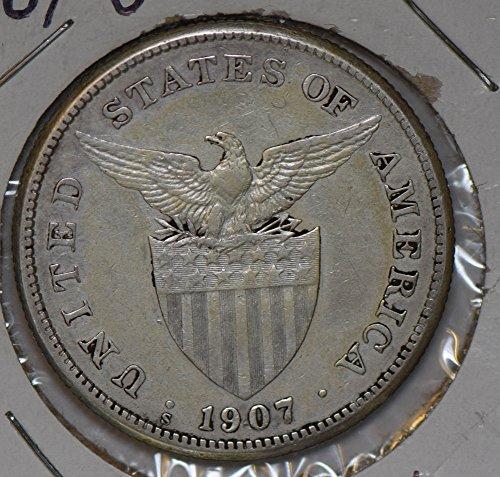 (1907 PH P0205 Philippines Peso S silver DE PO-01)