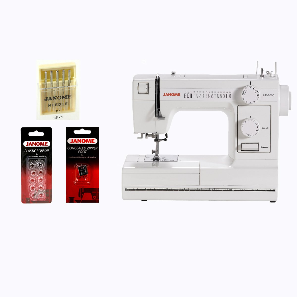 Janome HD1000 Mechanical Sewing Machine with Package Image