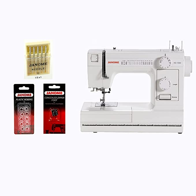 588a3df5073 Janome HD1000 Mechanical Sewing Machine w/ FREE BONUS Package!: Amazon.in:  Home & Kitchen