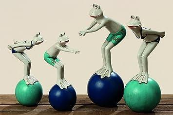 2 Er Set Frosch Figuren Beim Baden Je Ca 21 Cm Gross Frosche Lustige