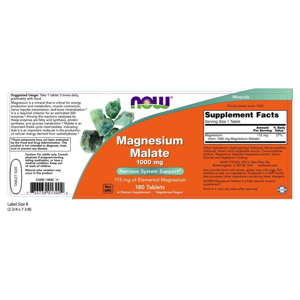 NOW Foods Magnesium Malate, 180 Tablets / 1000mg: Amazon.es: Salud y cuidado personal