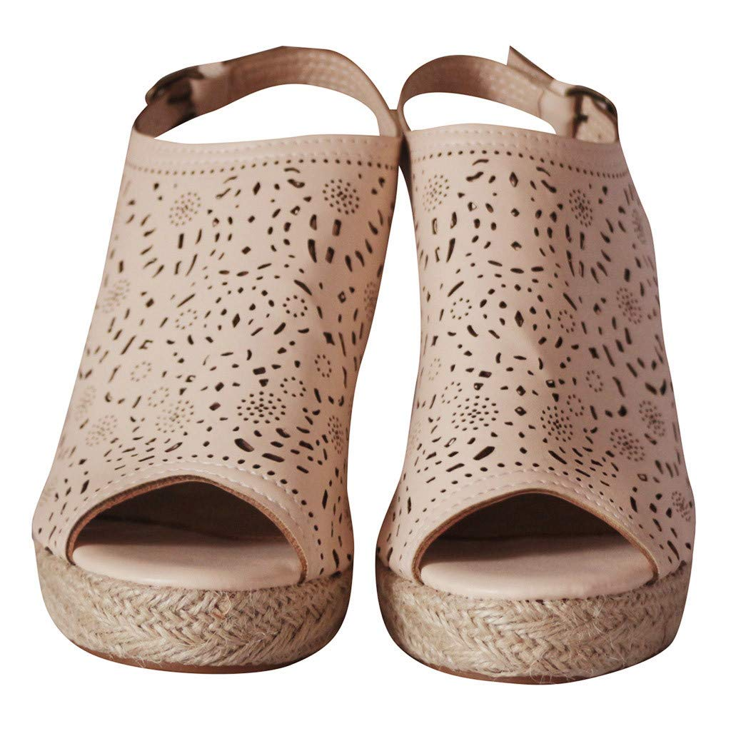 LUCAMORE Womens Fashion Hollow Wedges Peep Toe Straw Thick Bottom Shoes Roman Sandals by LUCA-Sandals (Image #4)