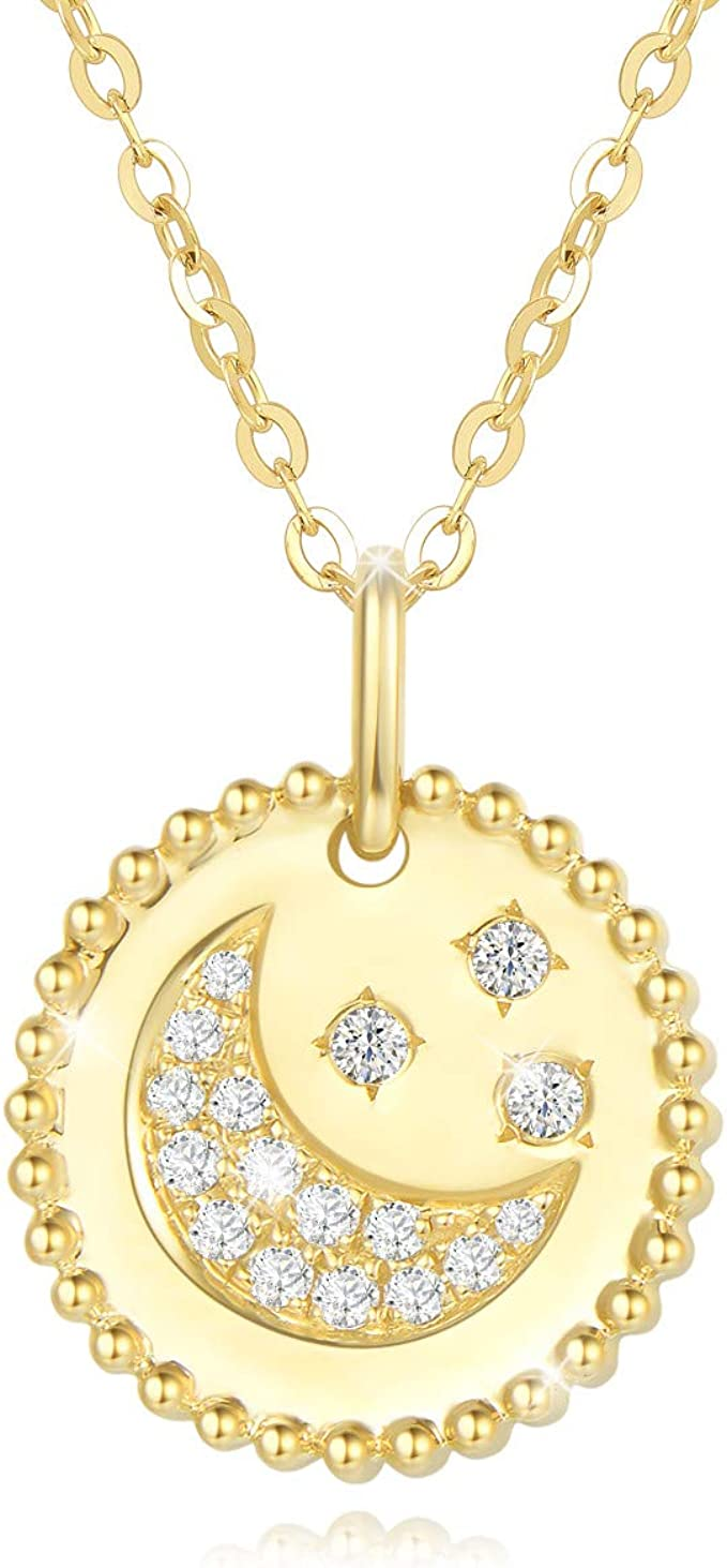 Gift 15 inch Party Wedding Plating Platinumrose gold Color Tiny moon and star women necklace Beautiful gift