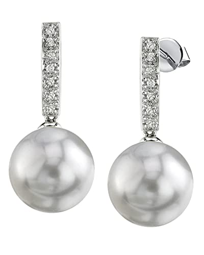 THE PEARL SOURCE 14K Gold 9-10mm Round Genuine White Freshwater Cultured Pearl Dangling Diamond Earrings for Women