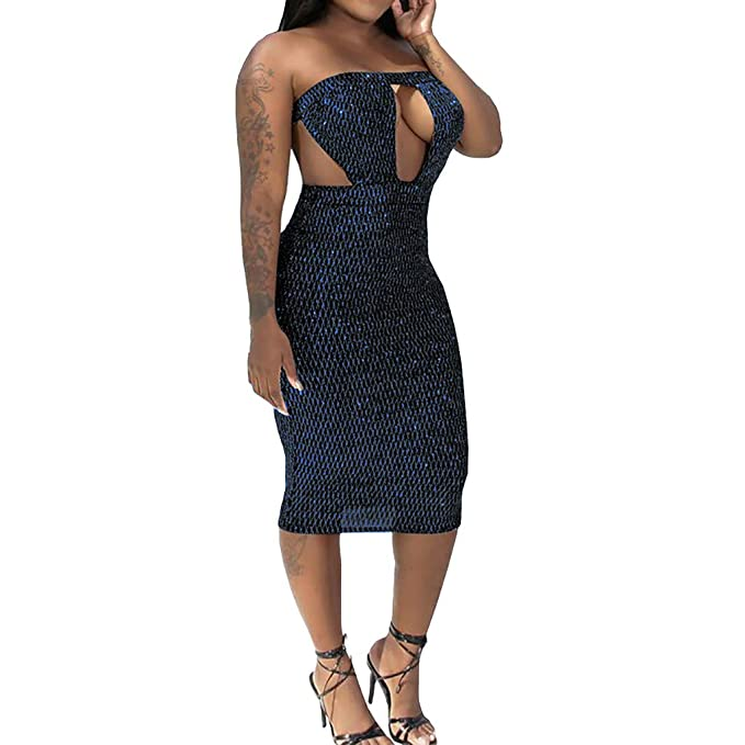 Wihoo - Vestido Sexy para Mujer Azul 36: Amazon.es: Ropa y accesorios