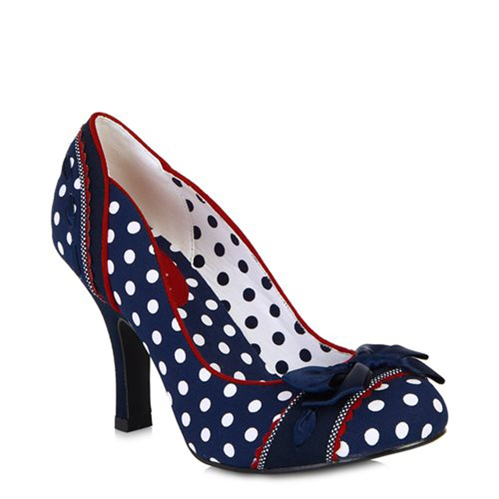 Ruby Shoo Amy Navy Spots Womens Hi Heels Court Shoes