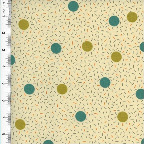 (Designer Cotton Teal/Green Birthday Dot Print Grey Home Decorating Fabric, Fabric by The Yard)